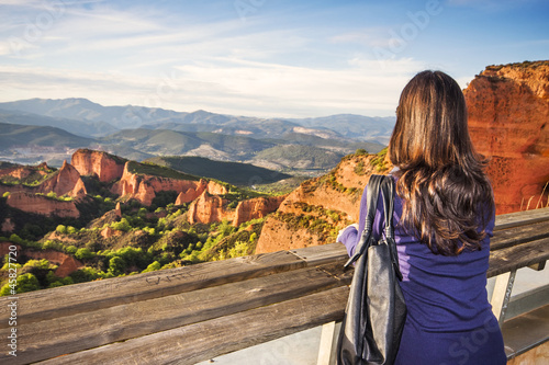 A woman in the viewpoint of Orellan, Las Medulas (UNESCO), Spain
