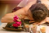 Spa Stone Massage. Beautiful Woman in Spa Salon - 45828192