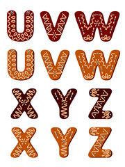 Gingerbread letters from U to Z
