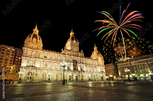 City council of La Coruña with fireworks, Galicia, Spain