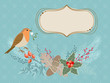 Christmas card with Robin bird
