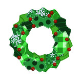 Fabric swatch Christmas wreath