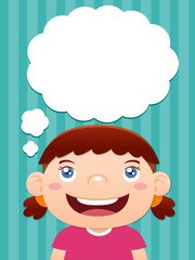 Cartoon girl thinking with white bubble for text