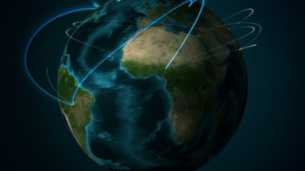 Lines connecting continents on globe