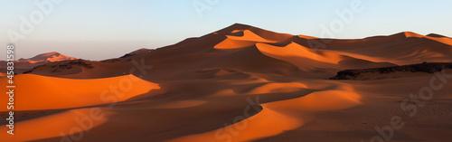 Aluminium Algerije Panorama of sand dunes, Sahara desert