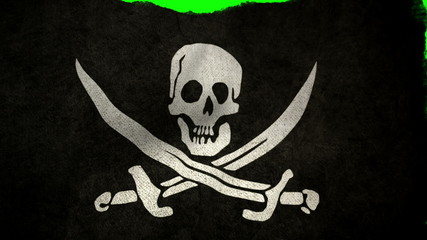 Pirate Flag Rise and Wave