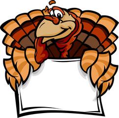 Happy Thanksgiving Holiday Turkey Holding Sign Cartoon Vector Il