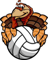 Volleyball Thanksgiving Holiday Happy Turkey Cartoon Vector Illu
