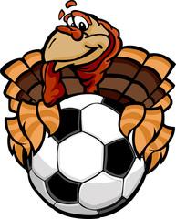 Soccer Thanksgiving Holiday Happy Turkey Cartoon Vector Illustra