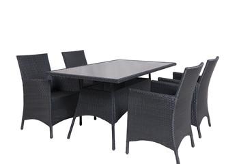 Rattan Gartenmöbel 4 Stühle 1 Tisch isolated
