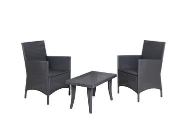 Rattan Gartenmöbel 2 Stühle - Sessel 1 Tisch isolated