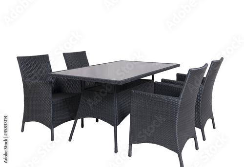 Leinwandbild Motiv Rattan Gartenmöbel 4 Stühle 1 Tisch isolated