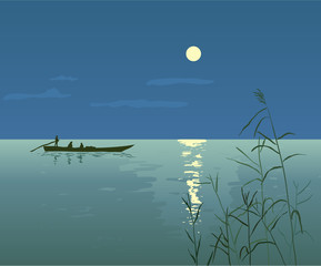 Night Seascape with Boat, vector