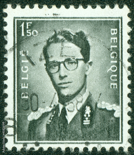 stamp printed in Belgium shows portrait King Baudouin
