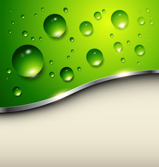 Abstract background with water drops on green