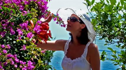 Woman in  summer garden