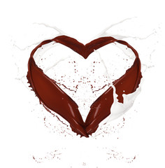 Heart symbol made of chocolate and milk splashes