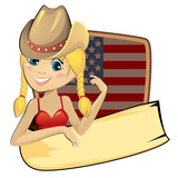 American banner with cowgirl and flag