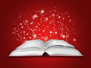 livre magique sur fond rouge