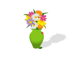 flowers and vase composition, isolated on white; abstract art il
