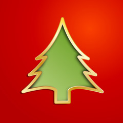 Vector Creative Christmas tree with hearts
