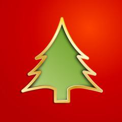 Vector Creative Christmas tree with hearts