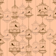 Vintage birds and birdcages. Vector illustration.