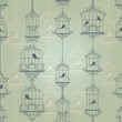 Vintage birds and birdcages. Pattern. Wallpaper.