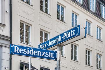 Max-Joseph-Platz street sign in Munich, Germany