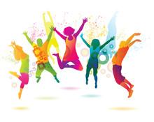 Młodych ludzi na imprezie. nastolatki taniec.