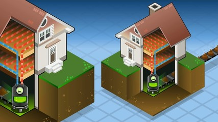 Isometric house with bio fuel boiler in hot production