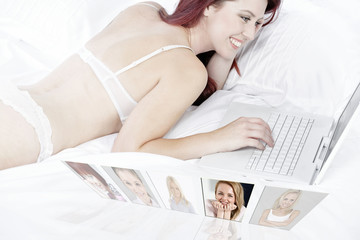 Woman chatting with friends online