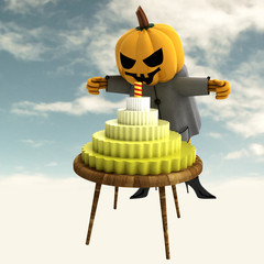 pumpkin witch with celebration cake on table with sky