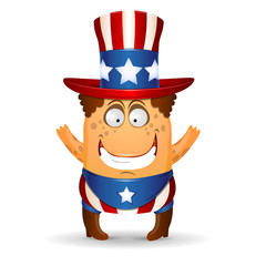 The amusing little man in a hat for July 4th.