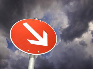 Schild Es geht abwärts