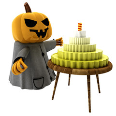 isolated pumpkin witch with cake on wooden table illustration