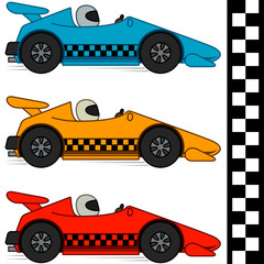 Racing cars & finishing line. Isolated. EPS8. No gradients.
