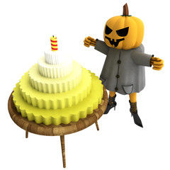 isolated pumpkin witch with cake on table illustration