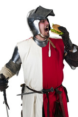 medieval knight eating a tasty hamburger