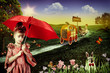 Wonderland. Abstract fairy tale backgrounds with young princess