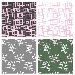 four seamless patterns with tic tac toe