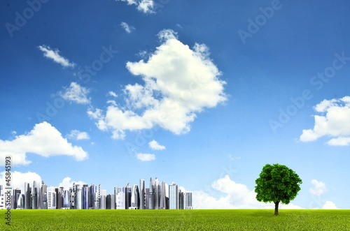 Futuristic City with green grassland