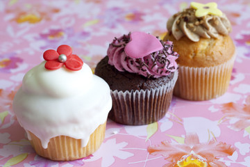Muffins on pink background