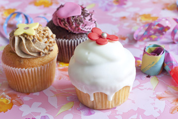 Birthday muffins party on pink background