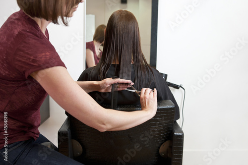 A female hairdresser cutting her female clients long hair