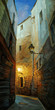 ancient night street in gothic quarter of barcelona,  illustrati