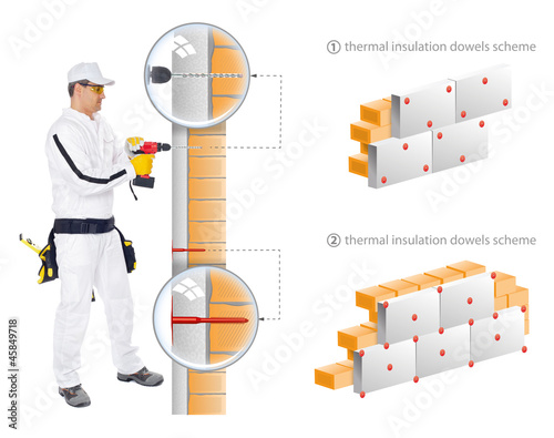 Construction worker install insulation of house