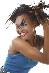 Afrikanerin mit geflochtenen Haaren