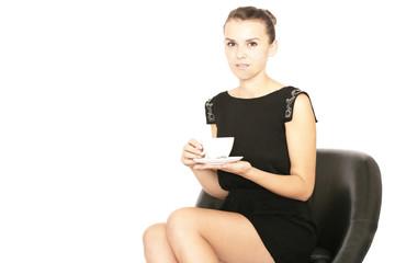 Geschäftsfrau trinkt Kaffee
