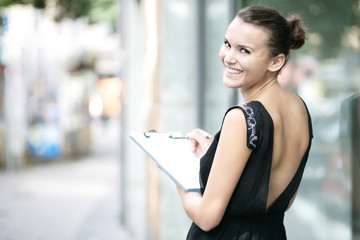 glückliche Geschäftsfrau